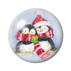 Cabochon en Verre Illustré Pingouins Hiver Noël 12 à 25mm pour la Création de Bijoux Fantaisie - DIY