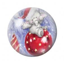 Cabochon en Verre Illustré Eléphant Boule de Noël 12 à 25mm pour la Création de Bijoux Fantaisie - DIY
