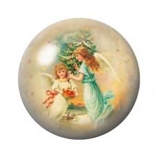 Cabochon en Verre Illustré Anges de Noël 12 à 25mm pour la Création de Bijoux Fantaisie - DIY