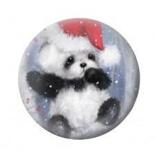 Cabochon en Verre Illustré Panda de Noël 12 à 25mm pour la Création de Bijoux Fantaisie - DIY