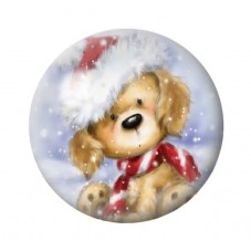 Cabochon en Verre Illustré Chien Bonnet de Noël 12 à 25mm pour la Création de Bijoux Fantaisie - DIY