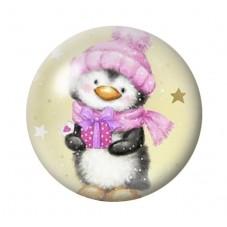 Cabochon en Verre Illustré Pingouin Hiver Noël 12 à 25mm pour la Création de Bijoux Fantaisie - DIY