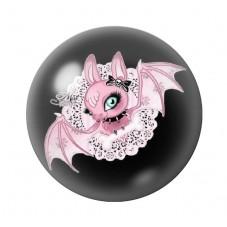 Cabochon en Verre Illustré Chauve-Souris Halloween 12 à 25mm pour la Création de Bijoux Fantaisie - DIY