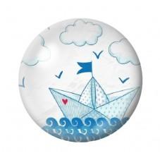 Cabochon en Verre Illustré Bateau sur l'eau 12 à 25mm pour la Création de Bijoux Fantaisie - DIY