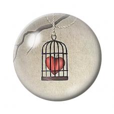 Cabochon en Verre Illustré Cage Coeur 12 à 25mm pour la Création de Bijoux Fantaisie - DIY