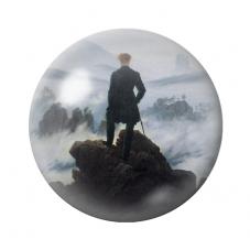 Cabochon en Verre Illustré Caspar David Friedrich Le Voyageur au-dessus de la mer de brume 12 à 25mm pour la Création de Bijoux