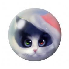 Cabochon en Verre Illustré Chat Bonnet de Noël 12 à 25mm pour la Création de Bijoux Fantaisie - DIY