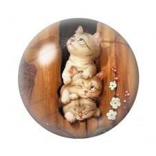Cabochon en Verre Illustré 3 P'tits  Chats 12 à 25mm pour la Création de Bijoux Fantaisie - DIY