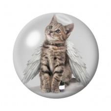 Cabochon en Verre Illustré Chat Ange 12 à 25mm