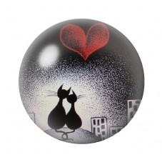 Cabochon en Verre Illustré Chats Amoureux 12 à 25mm pour la Création de Bijoux Fantaisie - DIY