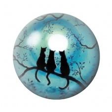 Cabochon en Verre Illustré Chats Lune 12 à 25mm pour la Création de Bijoux Fantaisie - DIY