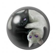 Cabochon en Verre Illustré Chat Yin Yang 12 à 25mm pour la Création de Bijoux Fantaisie - DIY