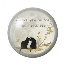 Cabochon en Verre Illustré Chat Love You Lune 12 à 25mm pour la Création de Bijoux Fantaisie - DIY