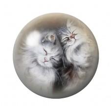 Cabochon en Verre Illustré Chats Câlins 12 à 25mm pour la Création de Bijoux Fantaisie - DIY