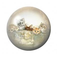Cabochon en Verre Illustré Chats 12 à 25mm pour la Création de Bijoux Fantaisie - DIY