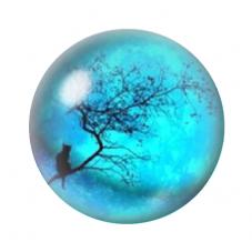Cabochon en Verre Illustré Chat Lune Bleue 12 à 25mm pour la Création de Bijoux Fantaisie - DIY