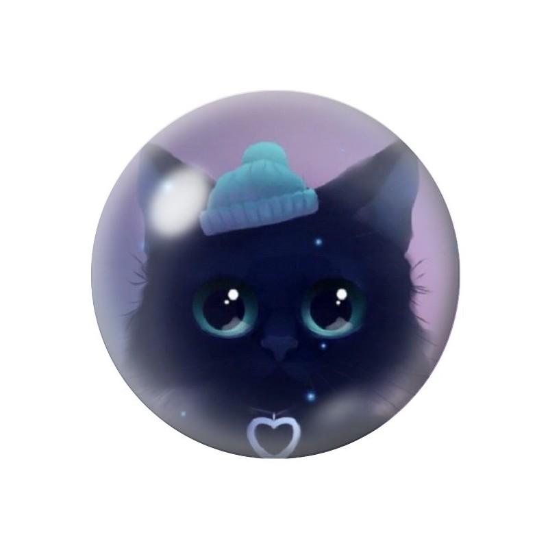 Cabochon en Verre Illustré Chat Bonnet Hiver 12 à 25mm