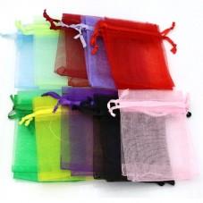 4 Grandes Pochettes en Organza Multicolore Lien Coulissant 11x16cm pour la Création de Bijoux Fantaisie - DIY