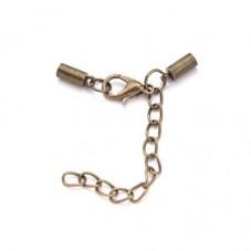 2 Fermoirs Embouts Attaches Bronze pour Cordon 3mm  pour la Création de Bijoux Fantaisie - DIY