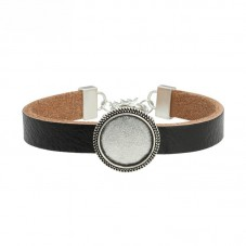 Bracelet en Cuir Support Argenté pour Cabochon 18mm pour la Création de Bijoux Fantaisie - DIY