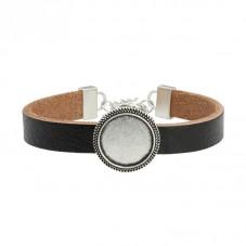 Bracelet en Cuir Support Cabochon 18mm Argenté