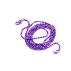 Collier Chaîne à Bille Violet 65cm pour la Création de Bijoux Fantaisie - DIY