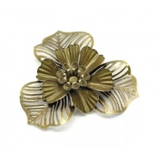 2 Cabochons Fleur Filigrane 4.7cm Bronze