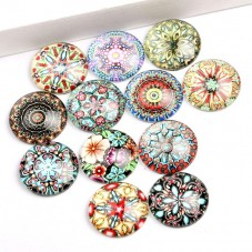 5 Cabochons en Verre Illustrés Mandala 20mm pour la Création de Bijoux Fantaisie - DIY