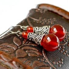 Boucles d'Oreilles en Pierre Naturelle Agate Rouge