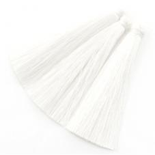 2 Longs Pompons Blanc 6.5cm pour la Création de Bijoux Fantaisie - DIY