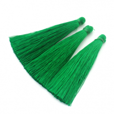 2 Longs Pompons Vert 6.5cm pour la Création de Bijoux Fantaisie - DIY