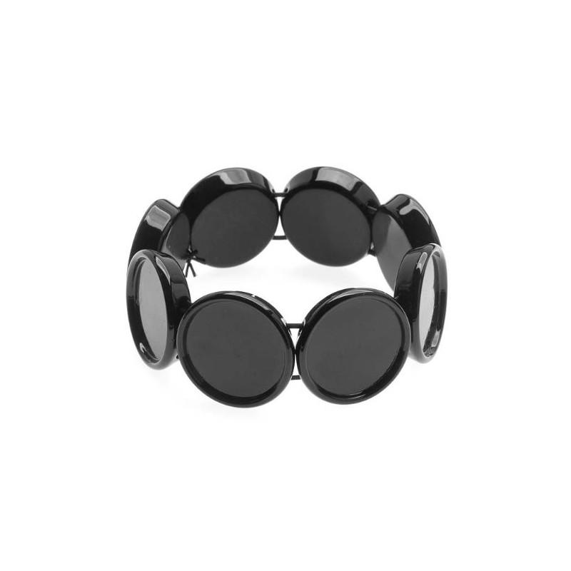 Support Bracelet Elastique Noir pour Cabochon 20mm