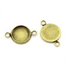 4 Supports Connecteur Bronze pour Cabochon 12mm pour la Création de Bijoux Fantaisie - DIY