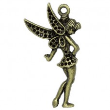 4 Breloques Fée Bronze à Strasser 3.6x2cm pour la Création de Bijoux Fantaisie - DIY