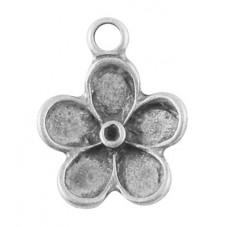 10 Breloques Fleur Argentée à Strasser 19x15mm pour la Création de Bijoux Fantaisie - DIY