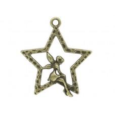 4 Breloques Fée Étoile Bronze 28x25mm pour la Création de Bijoux Fantaisie - DIY