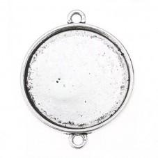 4 Supports Connecteur Argenté pour Cabochon 18mm pour la Création de Bijoux Fantaisie - DIY