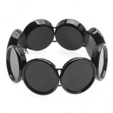 Support Bracelet Élastique Noir pour Cabochon 25mm