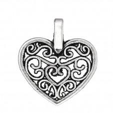 5 Breloques Coeur Ajouré Filigrane Argenté 14x16mm pour la Création de Bijoux Fantaisie - DIY