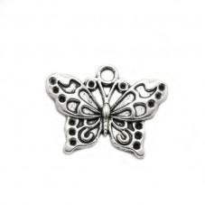 4 Breloques Papillon Argenté à Strasser 25x19mm pour la Création de Bijoux Fantaisie - DIY