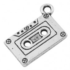 4 Breloques Cassette Audio Argentée 20x13mm pour la Création de Bijoux Fantaisie - DIY