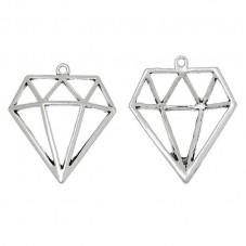 5 Breloques Diamant Argenté 11x19mm pour la Création de Bijoux Fantaisie - DIY