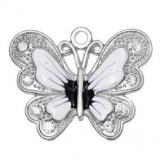2 Breloques Papillon Blanc Emaillé à Strasser pour la Création de Bijoux Fantaisie - DIY