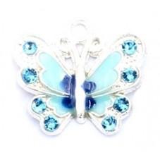 2 Breloques Papillon Bleu Emaillé à Strasser pour la Création de Bijoux Fantaisie - DIY
