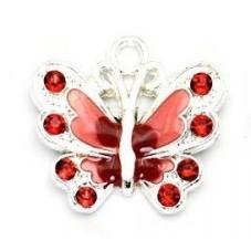 2 Breloques Papillon Rouge Émaillé à Strasser 22mm pour la Création de Bijoux Fantaisie - DIY