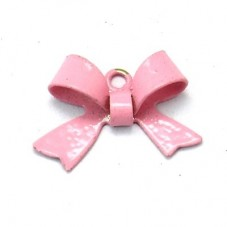 2 Breloques Noeud Rose Email 10.5x15mm pour la Création de Bijoux Fantaisie - DIY