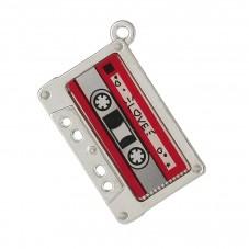 2 Breloques Cassette Email Rétro 16mm pour la Création de Bijoux Fantaisie - DIY