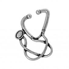 2 Breloques Stéthoscope Médical Argenté Docteur Infirmière  29x24mm pour la Création de Bijoux Fantaisie - DIY