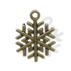 5 Breloques Flocon de Neige Noël Bronze 19x17mm pour la Création de Bijoux Fantaisie - DIY