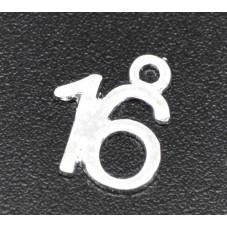 """2 Breloques Chiffre """"16"""" Argenté 12x10mm"""